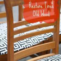 Vintage Wooden Chairs with Black and White Upholstery (and Easy W