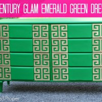 Emerald Green and Gold Greek Key Midcentury Dresser (AKA I Get Fa