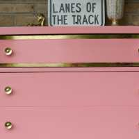 DIY Coral Dresser with Gold Leaf Details