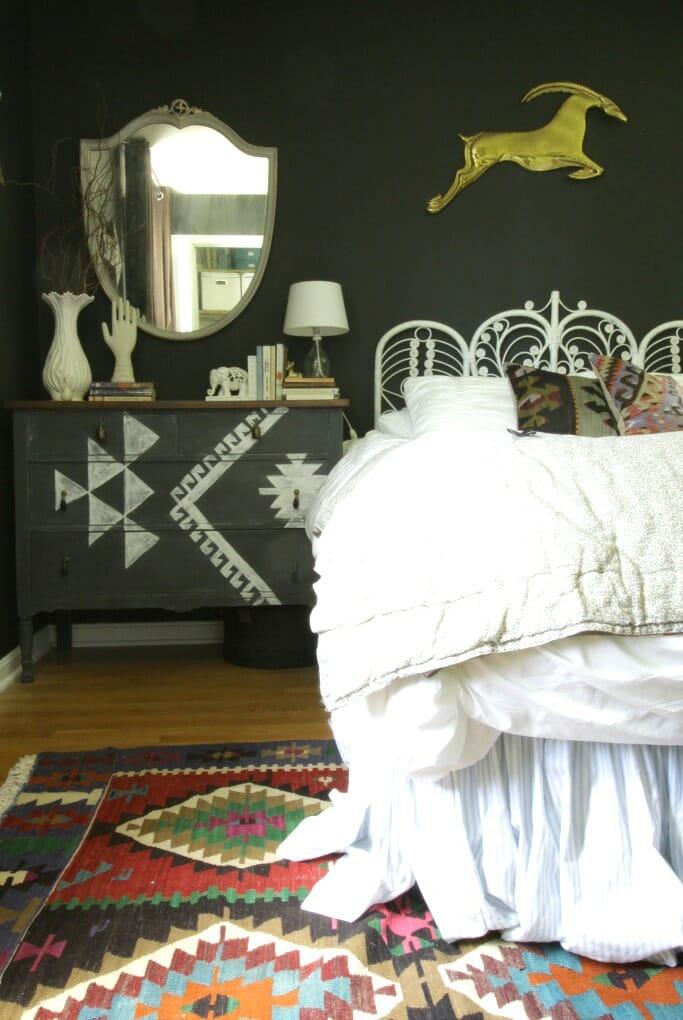 Vintage Kilim in Guest Room; Kilim Painted Dresser