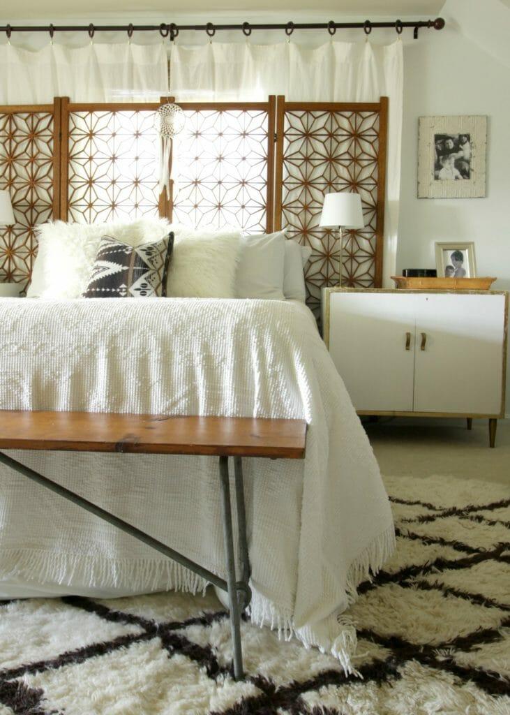 modern-bohemian-dresser-moroccan-rug-screen-headboard