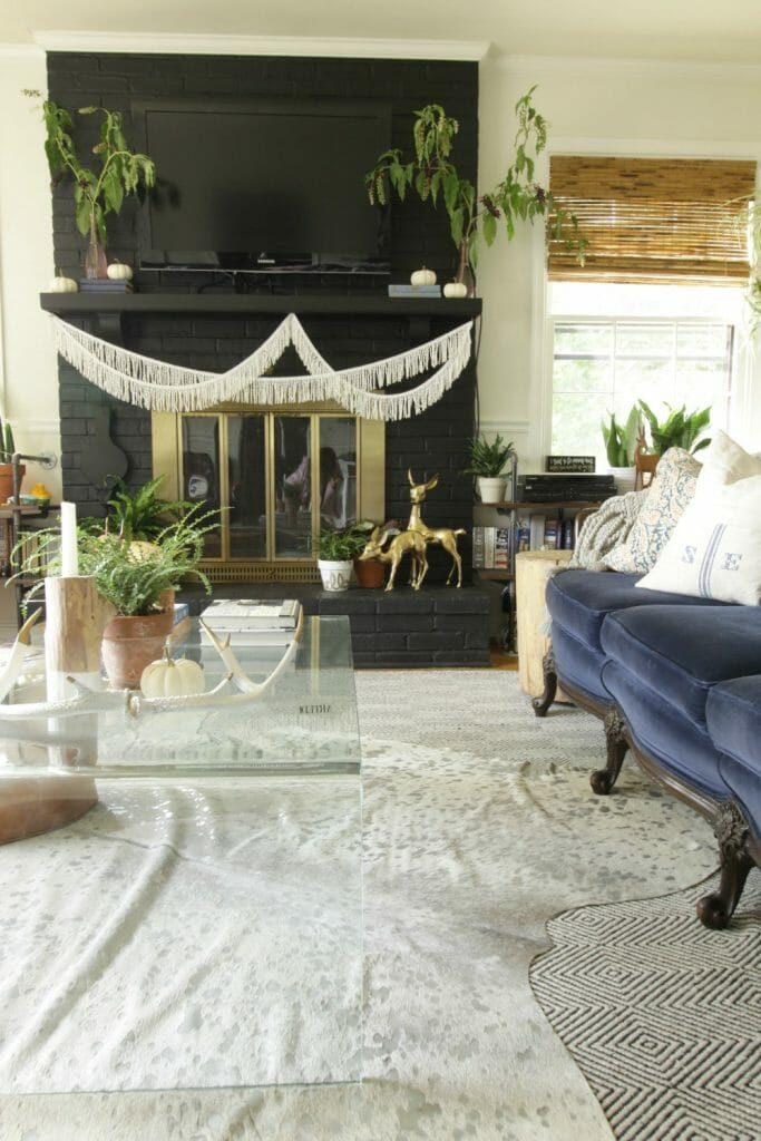 modern-boho-fall-mantle-fringe-greenery-brass