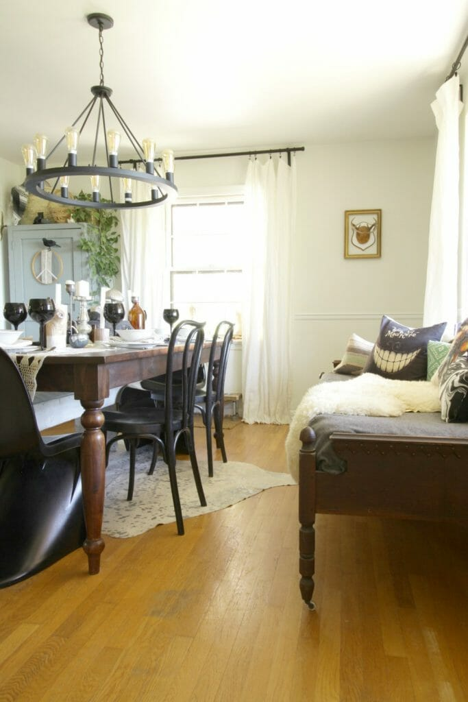 Antique Daybed in Dining Room