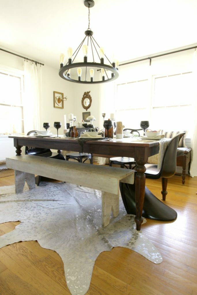 Eclectic Black, White, and Metallic Dining Room at Halloween