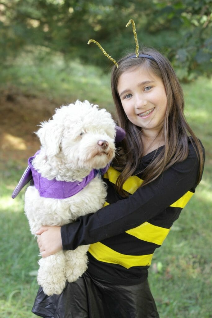 Emmy and Snowball as Bee & Butterfly