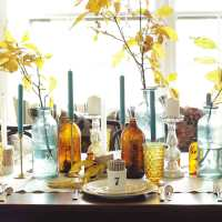 Amber and Aqua Vintage Thanksgiving Tablescape