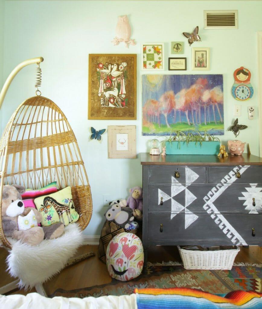 Hanging Chair, Kilim Dresser, Gallery Wall