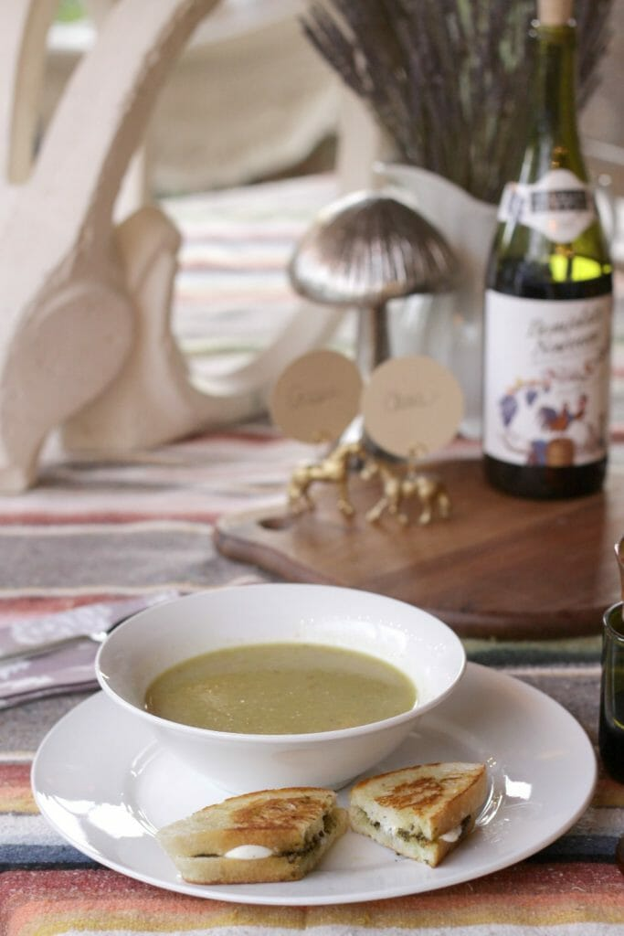 Roasted Green Tomato Soup, Grilled Pesto Mozzarella, and Beaujolais