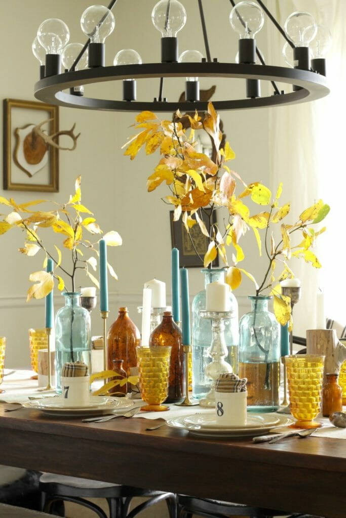 Amber and Aqua Vintage Mixed Tablescape