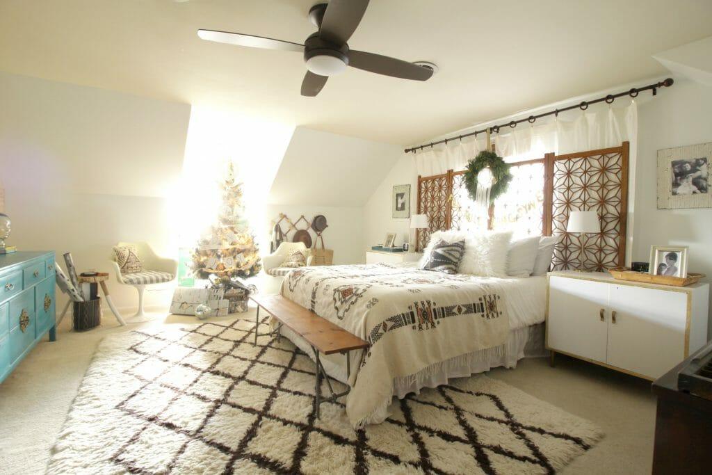 modern bohemian christmas bedroom Eclectic Christmas Tour Part 1