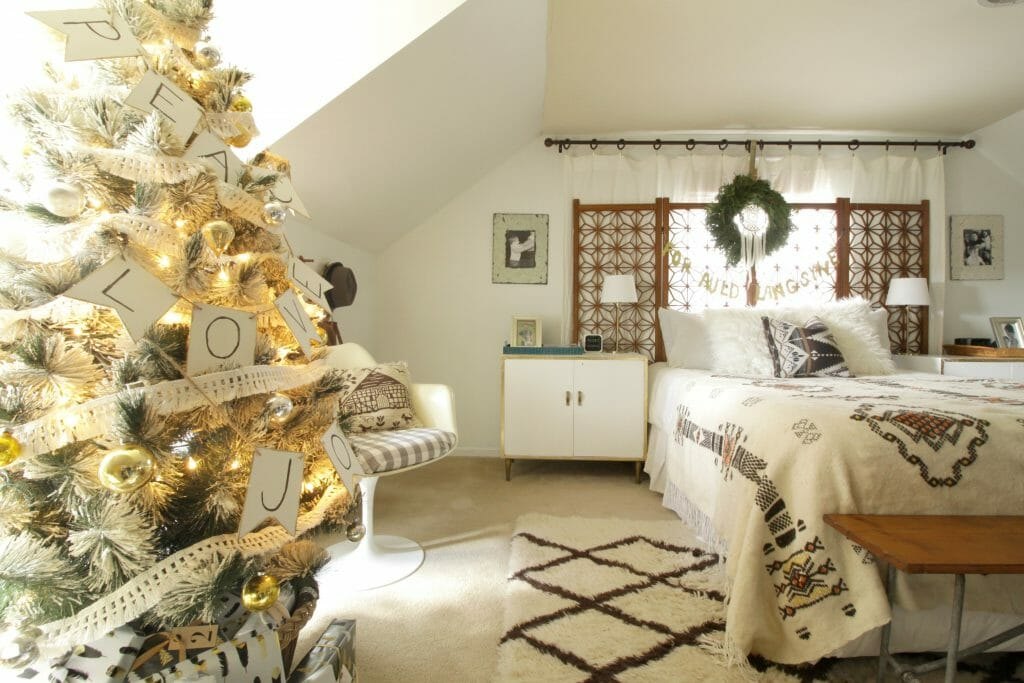 Neutral Christmas Bedroom