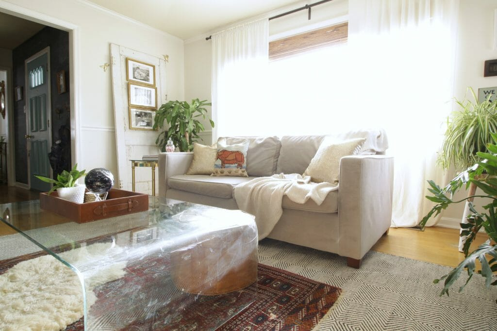 Vintage Glass Waterfall Table in Living Room- Eclectic Space- Vintage Modern