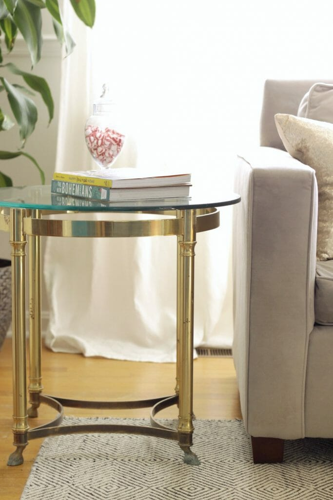 Vintage Brass and Glass side table with hooves
