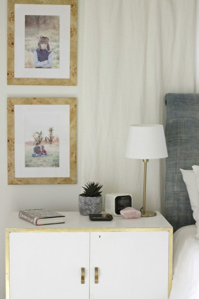 Blush accents on nightstand