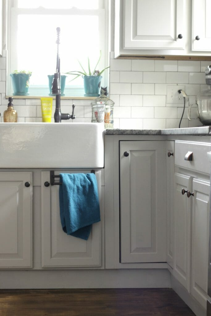 Gray Farmhouse Kitchen with Aqua Accents