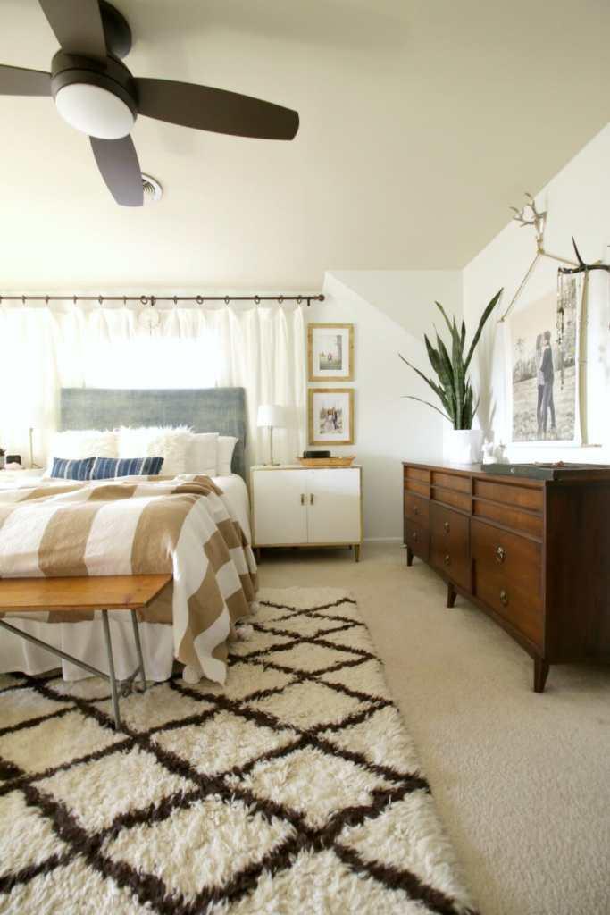 Modern Boho Bedroom in Blue & White & Wood