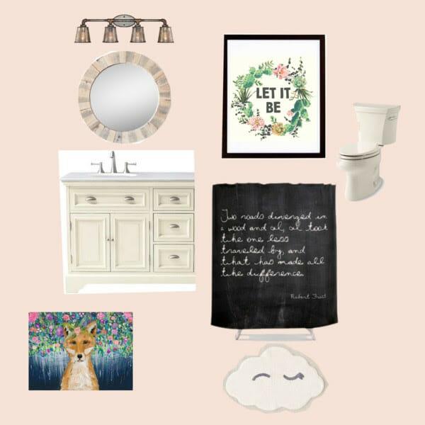 Pink Eclectic Bathroom Mood Board