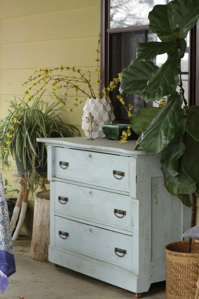 Bohemian Vintage Porch Decor- Plants and dresser