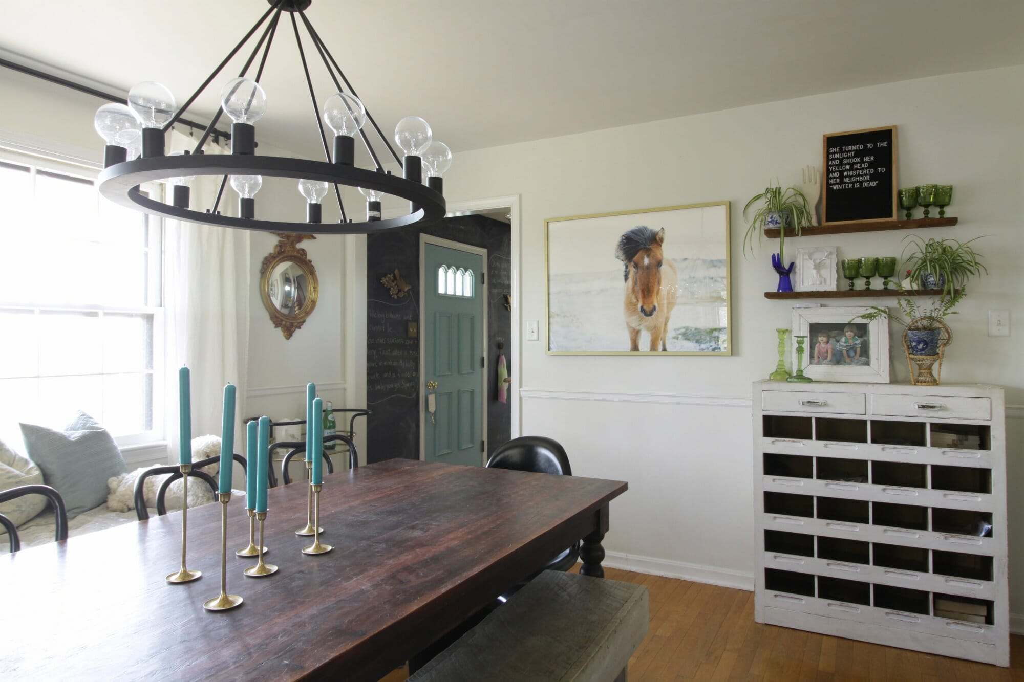 Eclectic spring dining room blues greens cassie bustamante eclectic dining room dzzzfo