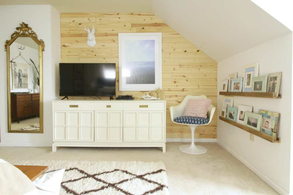 Eclectic Bedroom with DIY Photo Ledges