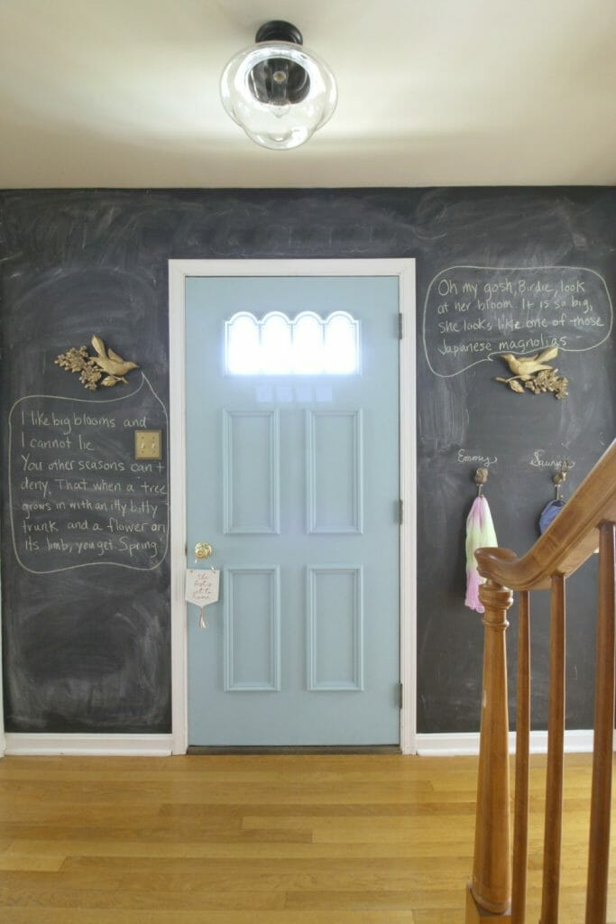 Chalkboard Wall in entry- funny Spring birds and quotes