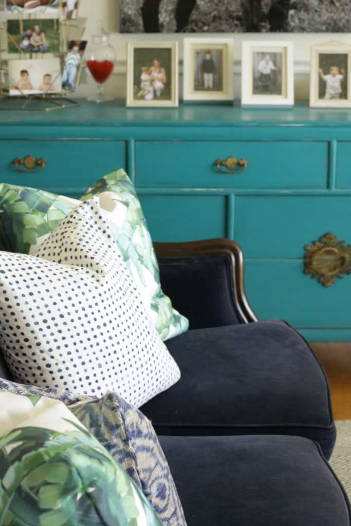 Blues and Greens in a Vintage Eclectic Living Room
