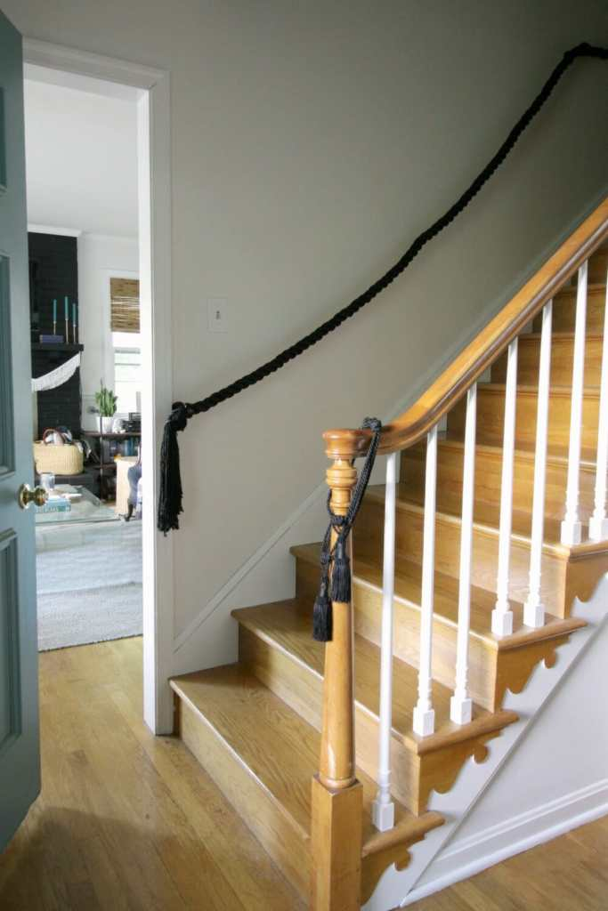 One Room Challenge Week 5: DIY Rope Stair Railing, Painted High Stairwell Walls, and When to Call the Pros