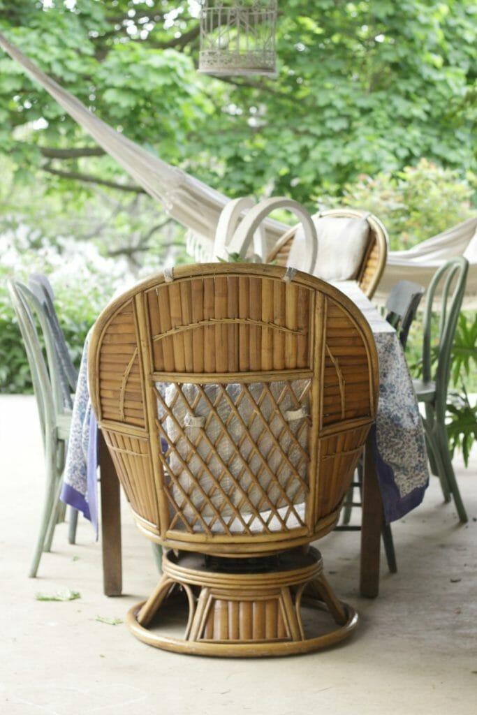 Bamboo Swivel Rocker Chairs