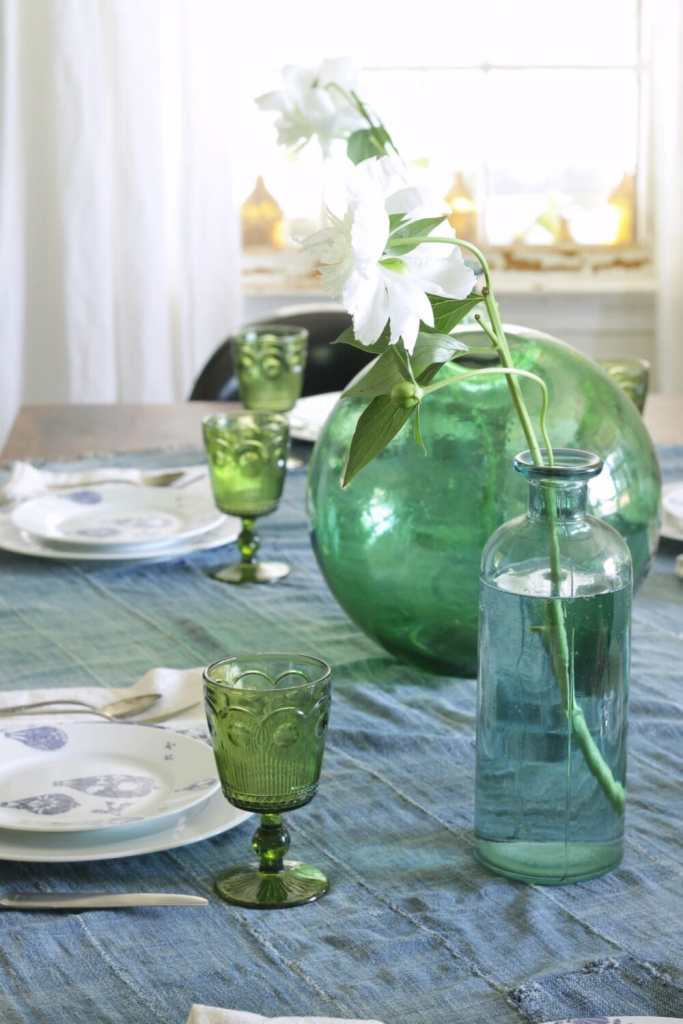 Blue, Green, White, Eclectic Coastal Dining Table