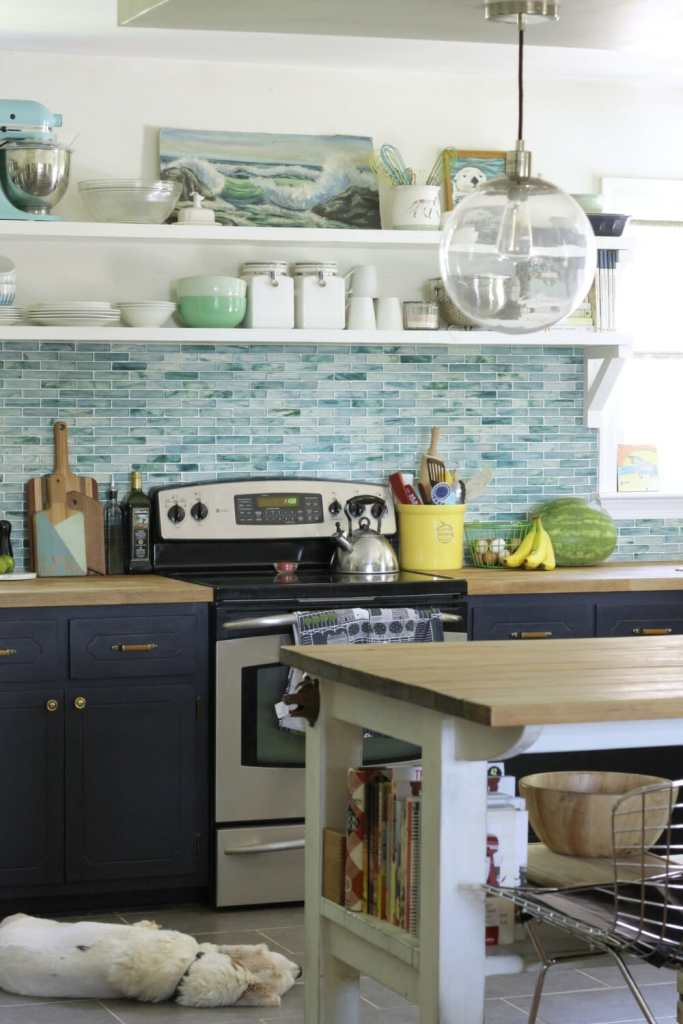 Eclectic Aqua and Navy Modern Farmhouse Kitchen