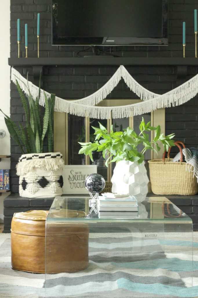 Fresh Mint Summer Vase Coffee Table Styling- Bohemian Style