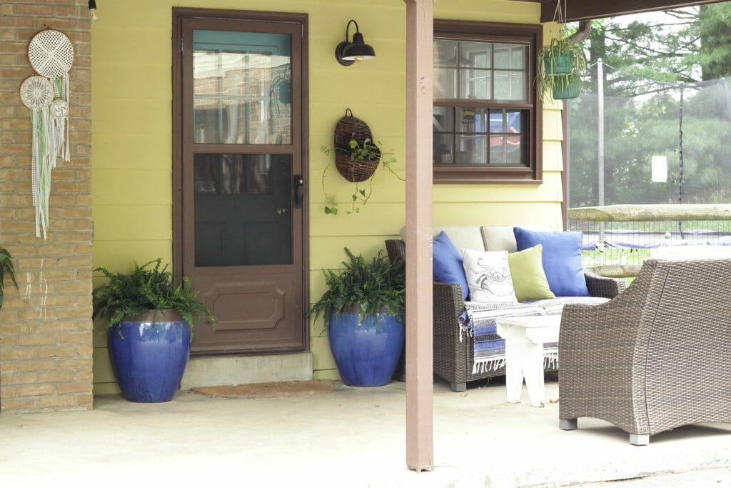 Seating Area on Porch- Boho Style in Blue