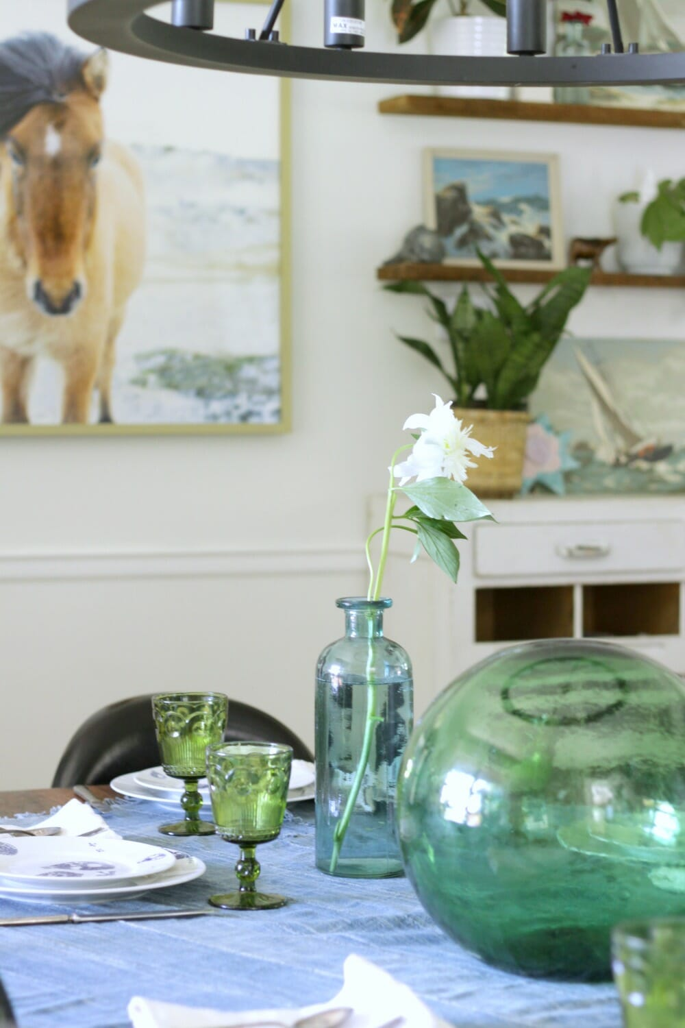 Summer dining room in blues greens cassie bustamante blue green eclectic farmhouse beachy dining room dzzzfo