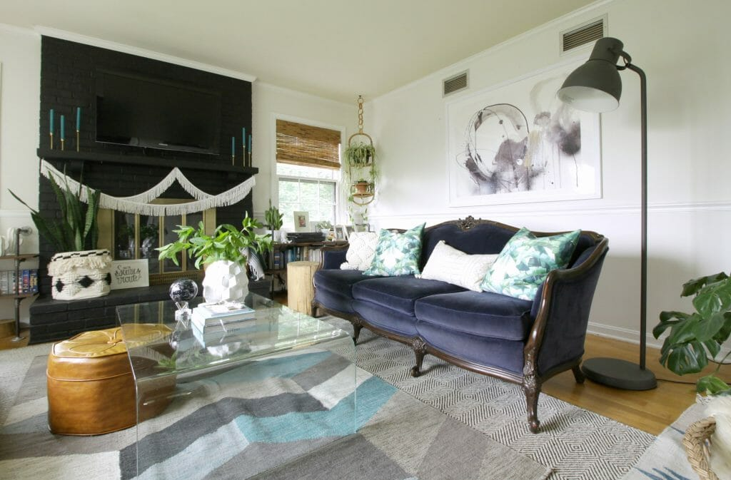 Navy Vintage Velvet Sofa in Eclectic Summer Living Room