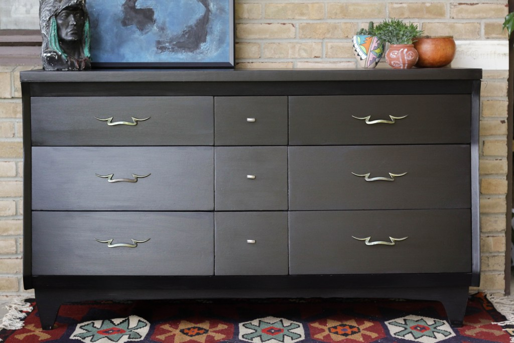 Black Midcentury Dresser Makeover with lamp Black