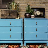 Furniture Makeover: Turquoise Asian Inspired  Nightstands