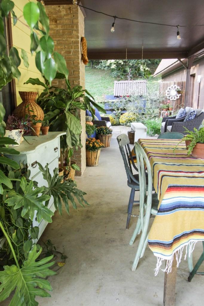 Eclectic Boho Farmhouse Porch at Fall