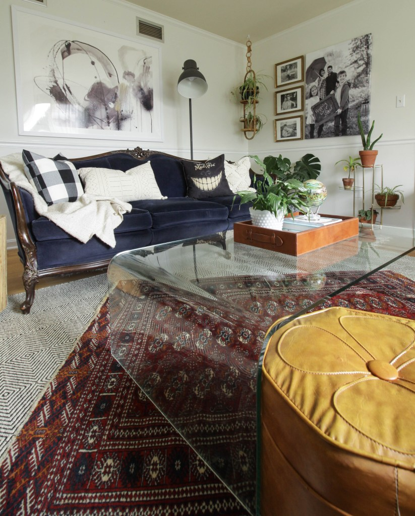 Fall living room with textiles and layers