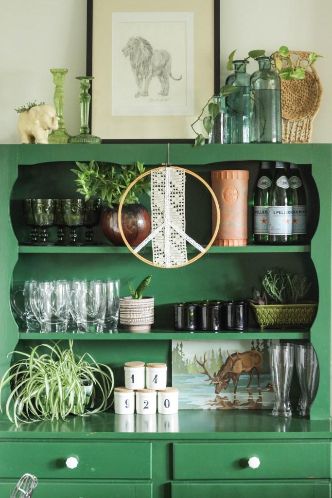 Styled Green Hutch Shelf for Fall
