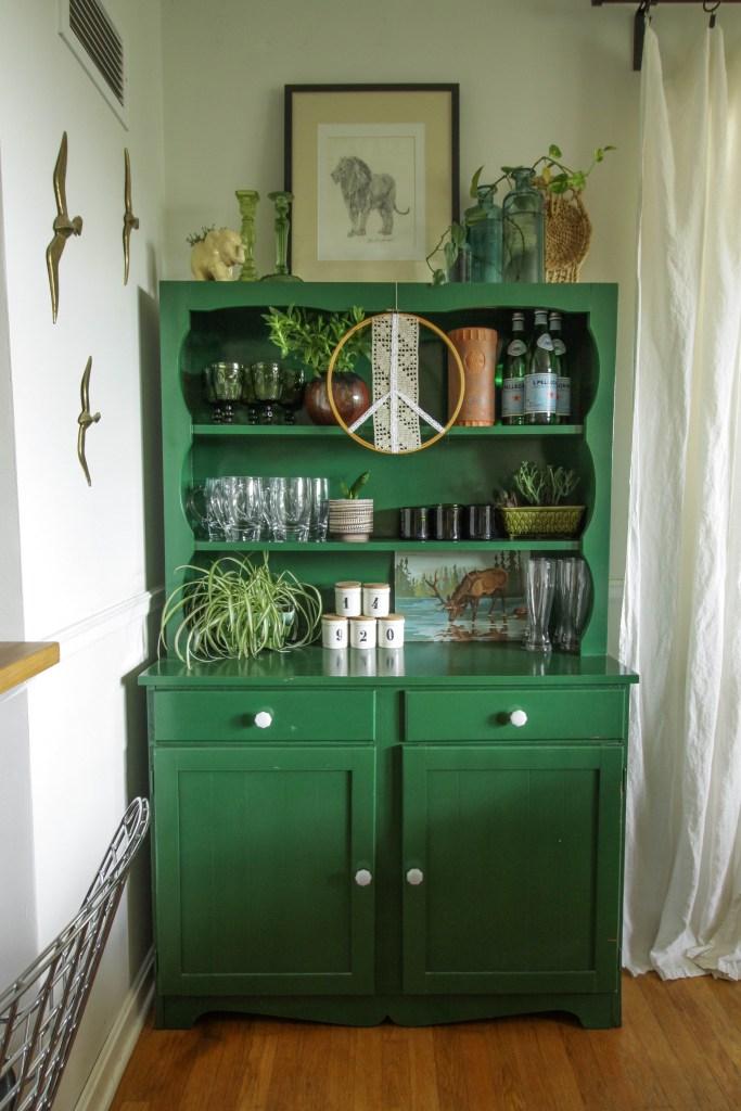 Green Boho Dining Hutch