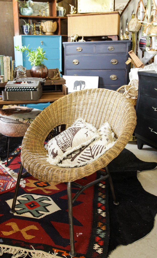 Vintage Wicker Disc Chair
