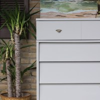 Furniture Makeover: Seagull Gray & Gold Midcentury Dresser
