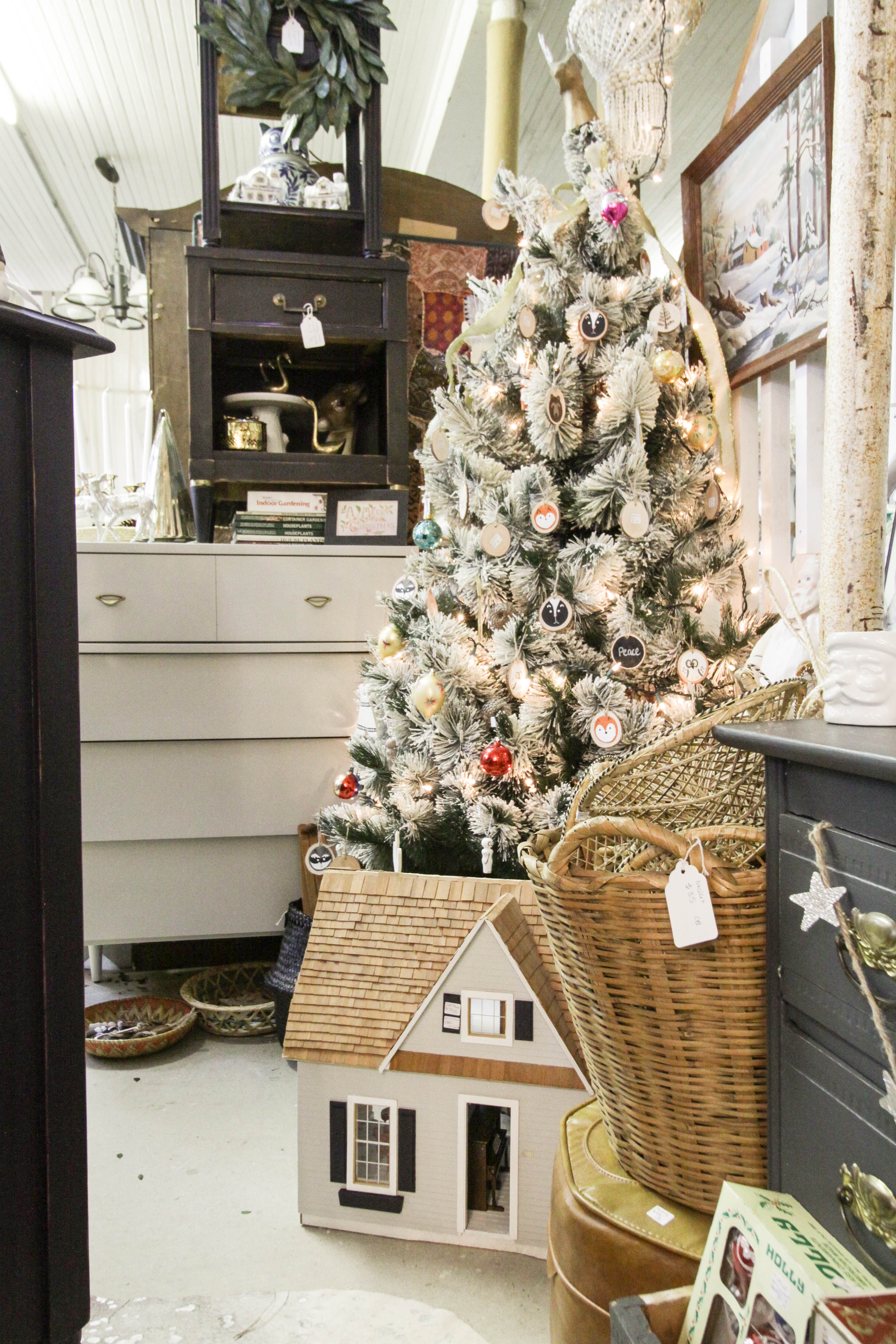 Perfect Vintage Flocked Tree for Christmas at Sweet Clover