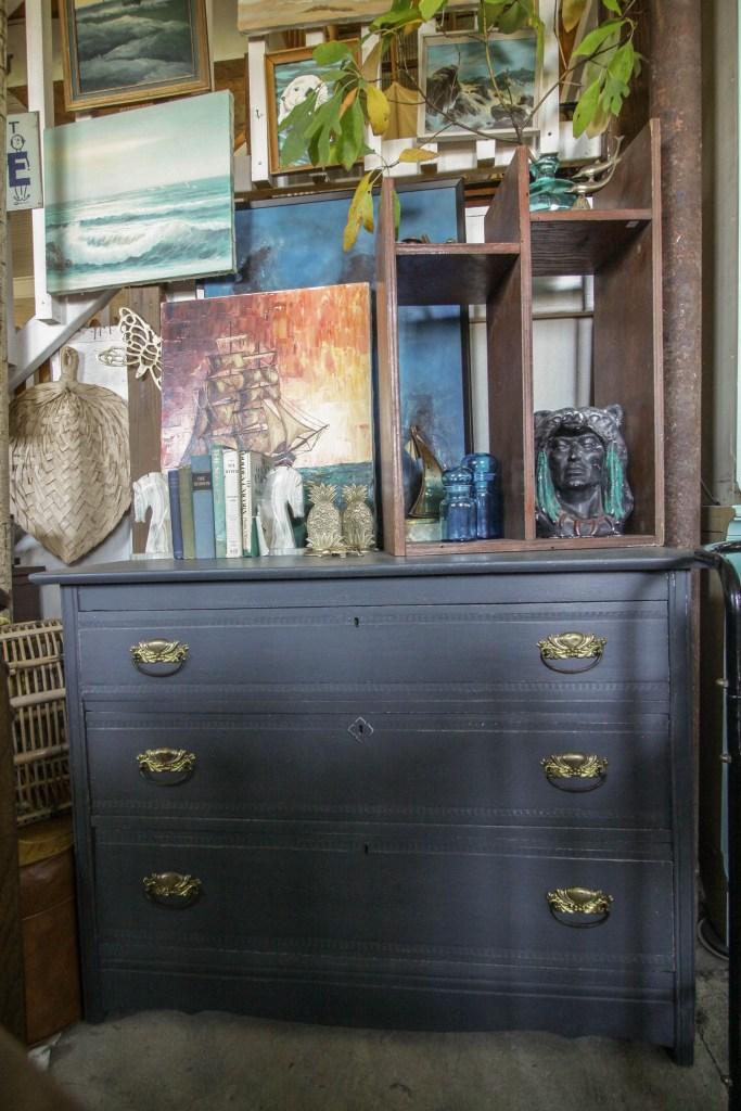 Gray Farmhouse Dresser and nautical seascape wall