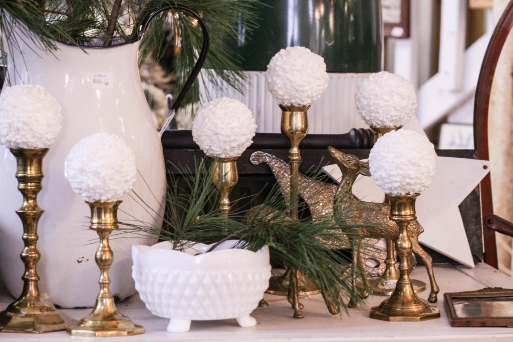 Vintage Brass Candlesticks with snowballs- great Christmas mantle idea