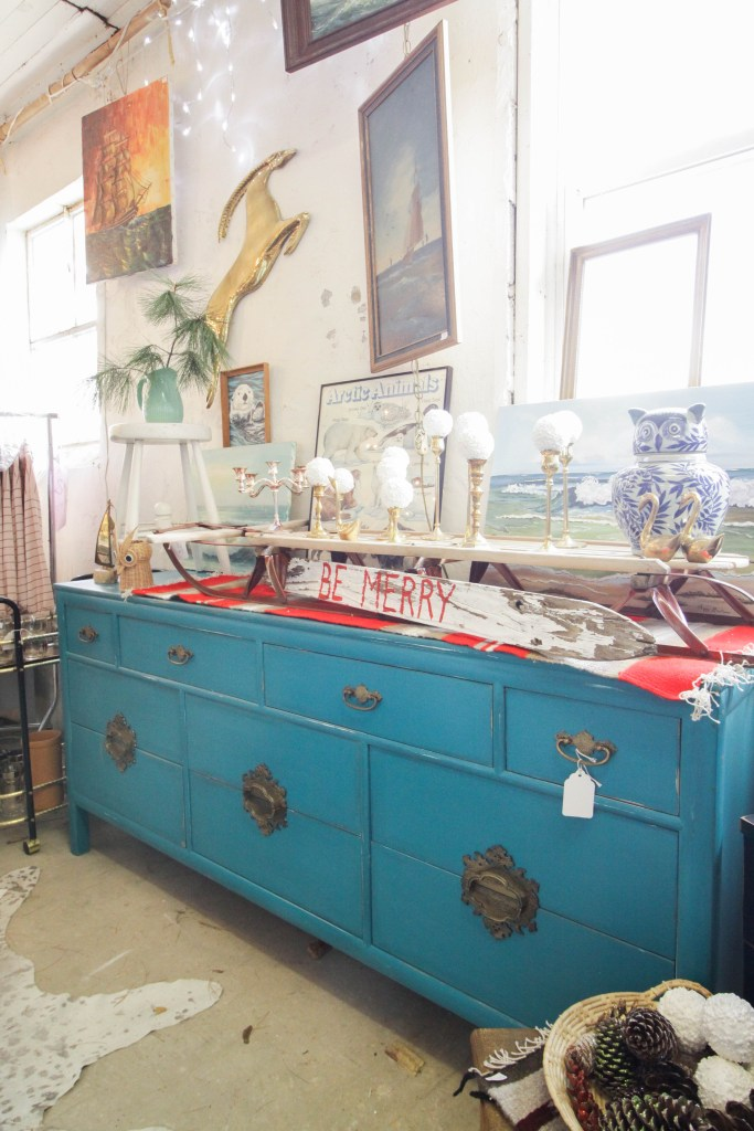 Asian Turquoise Dresser with pops of red