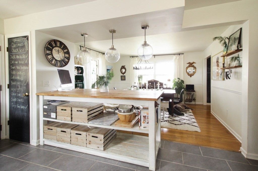 Industrial Kitchen Island Opening to Dining Room