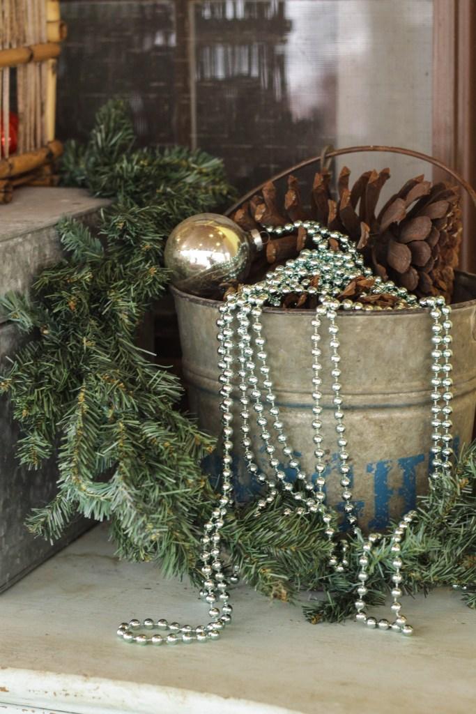 Vintage bucket Christmas Decor