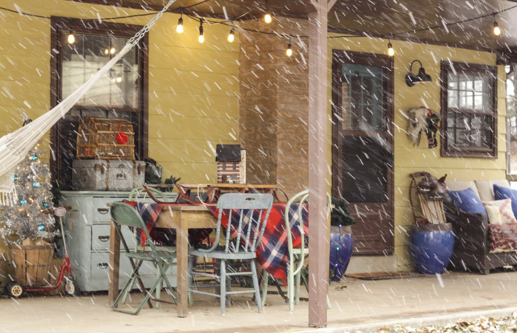 Snow Falling on Christmas Porch