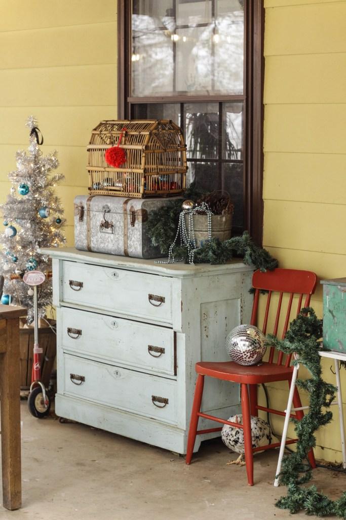 Vintage Dresser on Farmhouse Christmas Porch